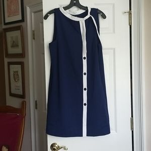 Navy blue mod shift dress with button front